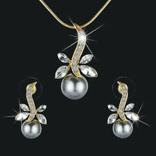 Fashion Crystal Dragonfly & Pearl Gold Plated Necklace & Earring Jewelry Sets