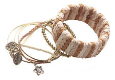 7 Multi-pack Suede Braided,Gold, Leaf Charm & Golden Beads Bangles(Ns15)