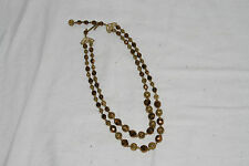 Vintage 2-strand necklace with metal faceted & filigree beads, gold/bronze tones