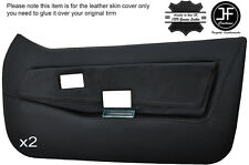 BLACK STITCH 2X FRONT FULL DOOR CARD LEATHER COVERS FITS LOTUS ELITE ECLAT S1