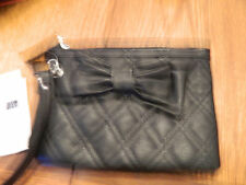 NWT Gap Kids girls black quilted synthetic leather hand bag w/matching bow/strap