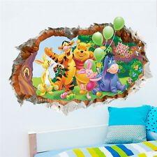 Removable Winnie The Pooh Wall Sticker Nursery Kids Baby 3D Break Through Art