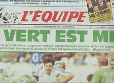 journal  l'equipe 02/02/91 RUGBY TOURNOI AVANT IRLANDE FRANCE SKI MERLE