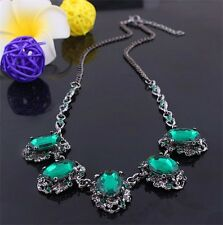 New Fashion Big Green Gemstone Rhinestone Statement Bib Choker Necklace