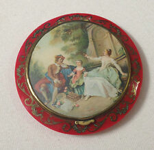 Spingarn Paris FRANCE CELLULOID compact w/ inlaid metal scrollwork circa 1920s