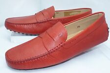 Tod's Mens Red Shoes Mocassin Gommini Loafers Drivers Size 8 Slip Ons Leathe NIB