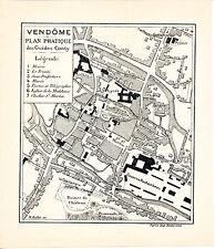 41 Vendôme 1912 plan ville orig. + guide (9 p.) Capitainerie Rocxheambeau Mail
