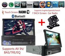 Car Radio Stereo Bluetooth 7'' Touch 1DIN FM/Remote Head Unit DVD Player+Camera