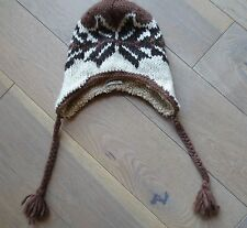 Abercrombie Kids Boys Brown Knit Hat braided tassels Ears Covered EUC one size