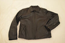 Authentic Nicole Miller Mens Genuine Black Thick Leather Jacket Size L