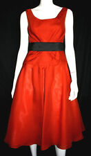 MONIQUE LHUILLIER Burnt Orange Silk Organza Cocktail Dress 8