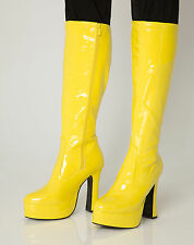 Yellow Gogo Boots Womens Retro Knee High Platform Boots - Size 8 UK