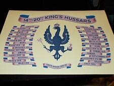 THE 14TH/20TH KINGS HUSSARS BATTLE HONOURS A4 PRINT ON CANVAS EFFECT CARD