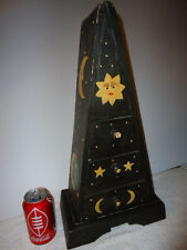 Unique Novelty Wood Pyramid-Shaped Triangular 3-Drawer Trinket Chest; Moon,Stars