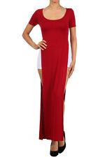 S M L Open Leg Sides double SLITS Split Flare SKIRT Short Sleeve Maxi Long Dress