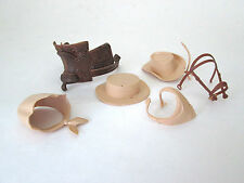 LOT vintage Marx plastic cowboy accessories hat feed bag bridle saddle