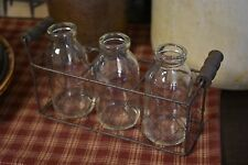 NEW PRIMITIVE COUNTRY SET OF 3 BOTTLES IN CHICKEN WIRE BASKET HOME DECOR