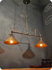 Vintage Industrial Double Shade Ceiling Sconce - Machine Age Pendant Lamp Light