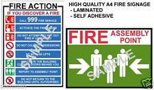 FIRE HEALTH & SAFETY SIGNS A4 LAMINATED POSTERS WORKPLACE OFFICE SHOP FACTORY