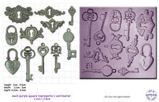 STEAM PUNK LOCKS, KEYS & Keyplates Craft Sugarcraft Sculpey Silicone Mould Mold