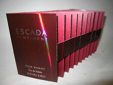 New In Card Escada Sentiment Pour Homme EDT Vials For Men 2ml 0.06 oz Lot Of 10