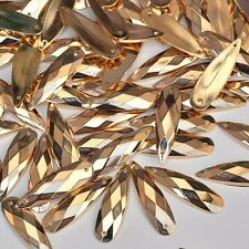 20 pcs x Sew  On 8x28 mm Acrylic Rhinestones Golden Color Teardrop Shape