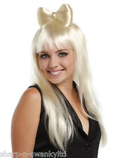 Ladies Sexy Long Blonde Hair Bow Lady Gaga Celebrity Fancy Dress Costume Wig
