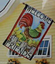Home Welcome Friends Rooster Decorative Flag 38x25 NIP