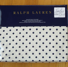Ralph Lauren Modern Glamour *KING XDP FITTED SHEET Polo NAVY BLUE Dots CHARLOTTE