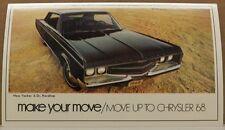 1968 CHRYSLER NEW YORKER NY SHOWROOM SALESMAN POSTCARD CARD DEALER PROMO MOPAR