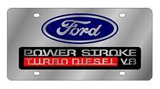 New Ford Blue Logo Power Stroke Turbo Diesel V8 Stainless Steel License Plate