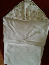 BABY WHITE HOODED BATH TOWEL WITH ANIMAL DETAIL ON HOOD