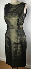 Red Valentino Gold Jacquard Sleeveless Belted Sheath Dress small 4 S Knee Length