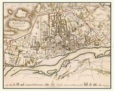 MAP ANTIQUE 1831 CLARKE WARSAW CITY PLAN OLD LARGE REPLICA POSTER PRINT PAM0289
