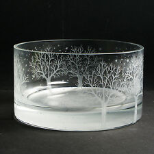 """CRYSTAL GLASS BOWL """"WINTER SOLITUDE"""" by Ray Lapsys"""