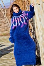 Free shipping Tiffy Mohair Hand Knitted T- neck Icelandic Dress Fluffy T222