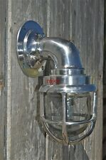 Retro polished metal mid sized nautical wall light caged bulk head ships lamp