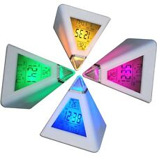 7 LED Pyramid Colour Changing Digital Clock with Date Alarm & Temperature Hot