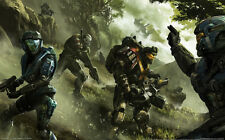 "Halo 1 2 3 4 Game Fabric poster 21"" x 13"" Decor 3-48"