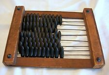 ANTIQUE PRIMITIVE WOODEN WOOD FRAMED ABACUS W/ RARE OBLONG COUNTERS