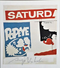 "Andy Warhol, ""SATURDAY'S POPEYE"" Hand Signed Print in Silver pen, 1986 with COA"
