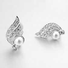 18K WHITE GOLD PLATED CLEAR GENUINE AUSTRIAN CRYSTAL & PEARL CLIP-ON EARRINGS