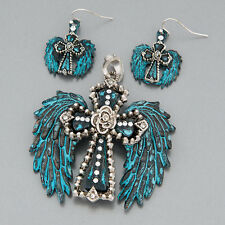 Patina Silver Cross Angel Wings Clear Stones Pendant With Earrings