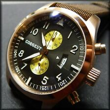 COURGET (Parnis) 50mm:Aviator chronograph qtz:316L stainless:Big pilot:PVD gold