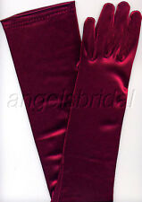 "23"" PLUM BURGUNDY WINE STRETCH SATIN BRIDAL WEDDING EVENING GOWN COSTUME GLOVES"