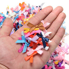 500X Assorted Mini Satin Ribbon Bows Tied Craft Embellishment Wedding Decor WB