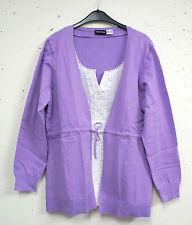 NEU Übergröße ausgefallene Damen Blusen-Jacke in lila weiß Doppeloptik Gr.48/50