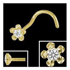 Gold 750 Nasenpiercing, Blume 2,7 mm mit gefassten Diamant Nasenstecker Spirale
