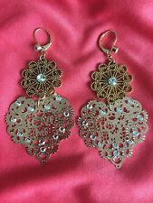 Betsey Johnson Vintage LOVE ME Gold Lace Heart Cut Out Crystal Earrings RARE