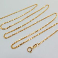 "New Style Real 18k Yellow Gold 16.5""L Necklace Women Lucky Wheat Link Chain 1.5g"